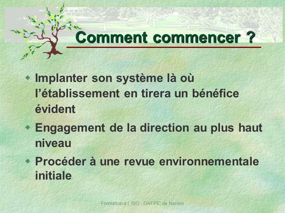 Formation à l ISO - DAFPIC de Nantes wImplanter son système là où létablissement en tirera un bénéfice évident wEngagement de la direction au plus hau