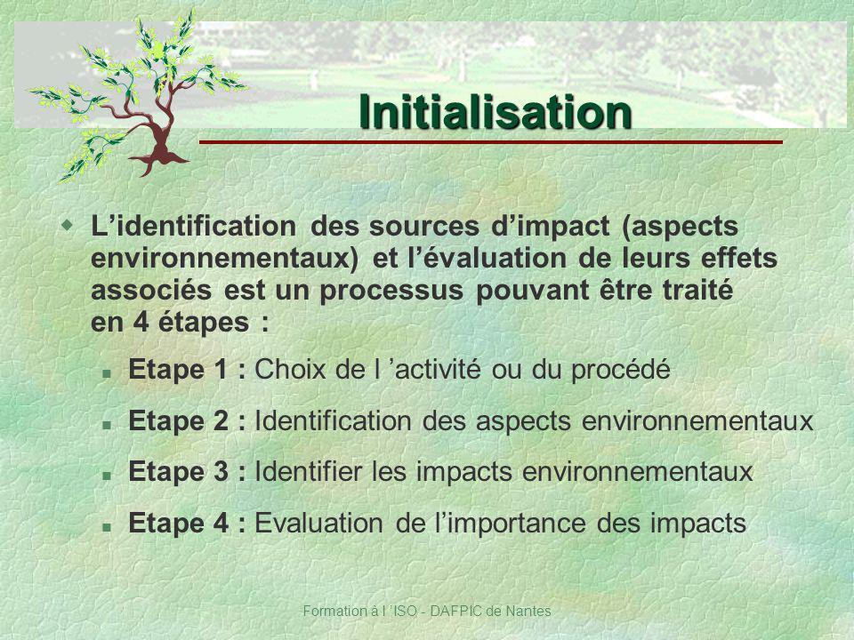 Formation à l ISO - DAFPIC de Nantes wLidentification des sources dimpact (aspects environnementaux) et lévaluation de leurs effets associés est un pr