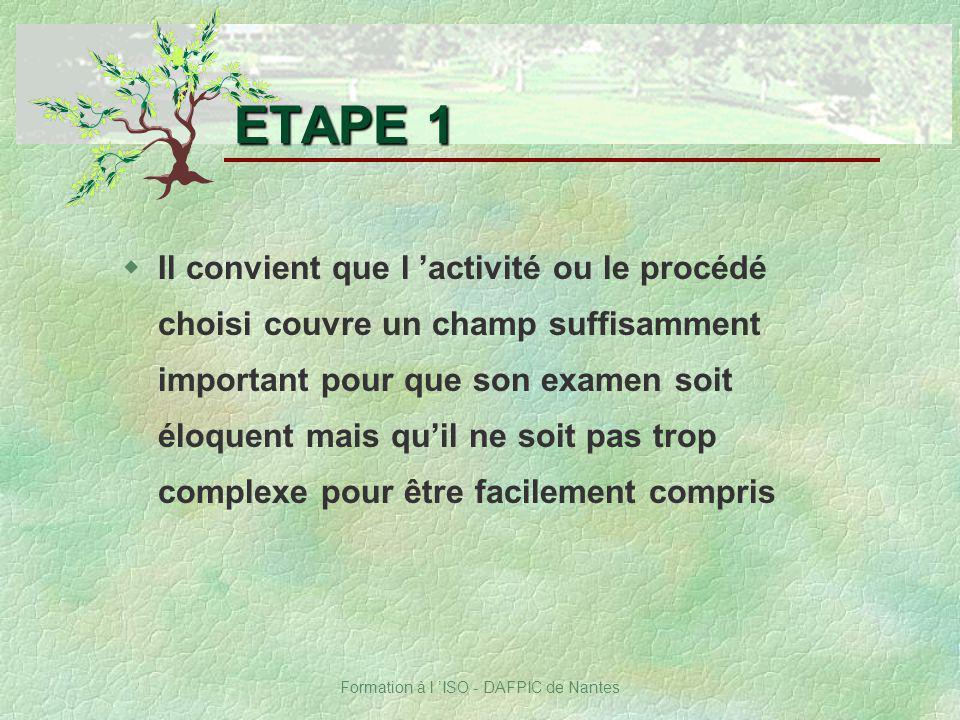 Formation à l ISO - DAFPIC de Nantes wIl convient que l activité ou le procédé choisi couvre un champ suffisamment important pour que son examen soit