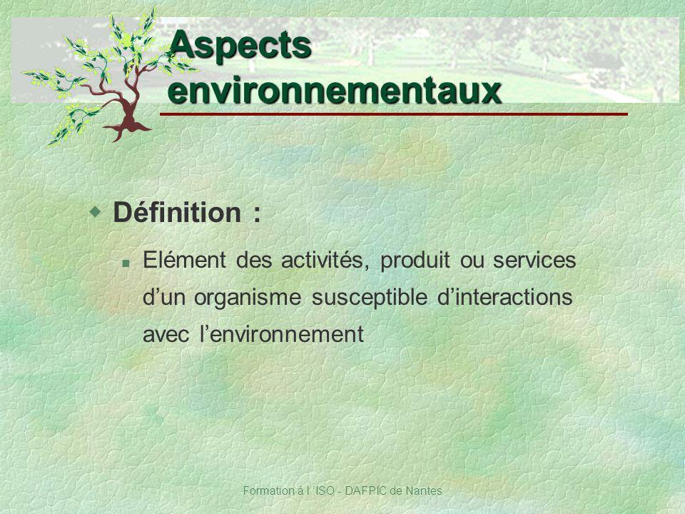 Formation à l ISO - DAFPIC de Nantes wDéfinition : Elément des activités, produit ou services dun organisme susceptible dinteractions avec lenvironnem