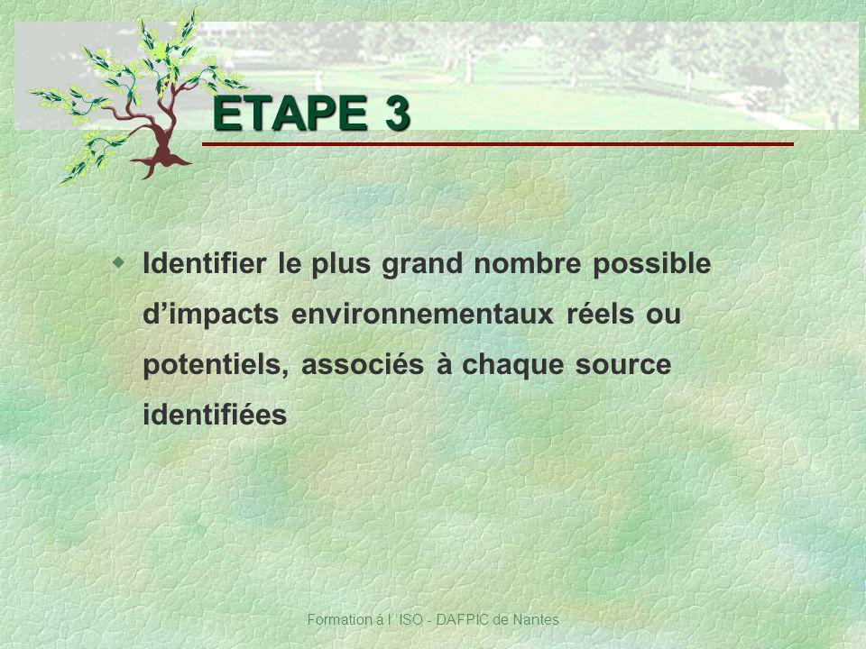 Formation à l ISO - DAFPIC de Nantes ETAPE 3 wIdentifier le plus grand nombre possible dimpacts environnementaux réels ou potentiels, associés à chaqu