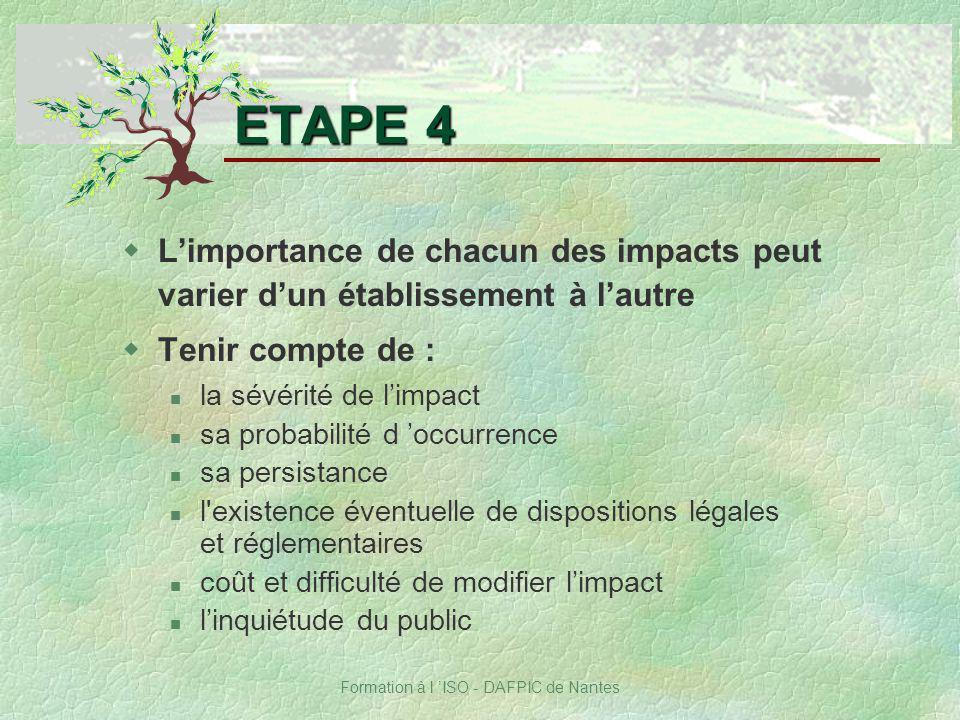 Formation à l ISO - DAFPIC de Nantes ETAPE 4 wLimportance de chacun des impacts peut varier dun établissement à lautre wTenir compte de : la sévérité
