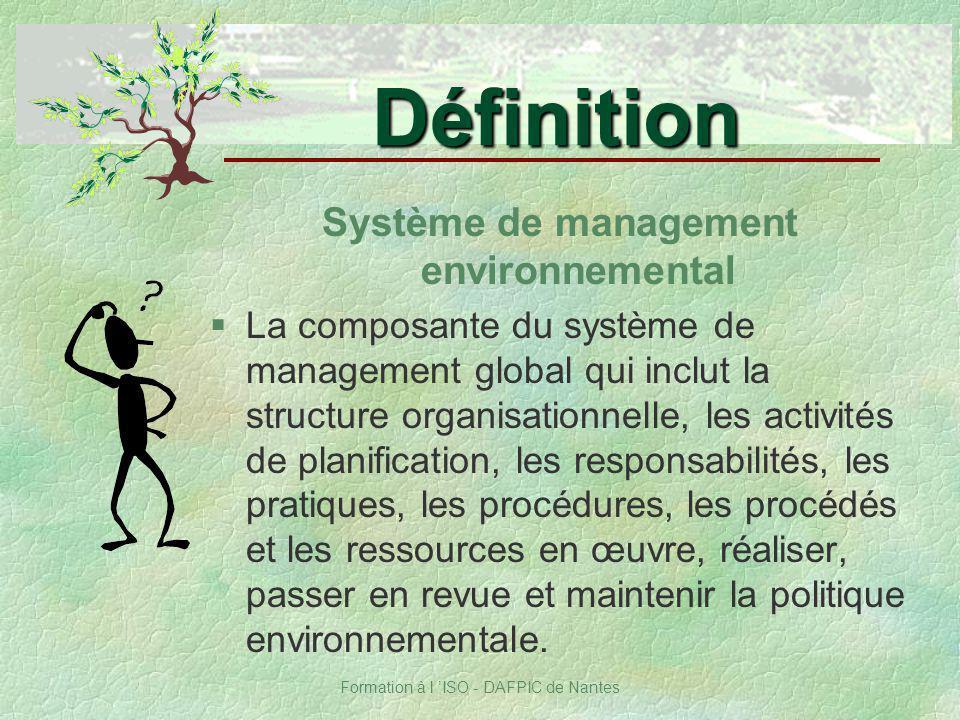 Formation à l ISO - DAFPIC de Nantes Système de management environnemental §La composante du système de management global qui inclut la structure orga