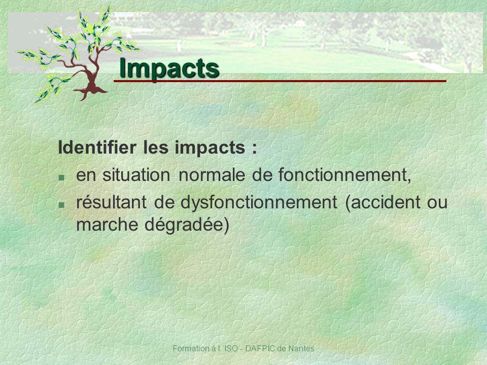 Formation à l ISO - DAFPIC de Nantes Identifier les impacts : n en situation normale de fonctionnement, n résultant de dysfonctionnement (accident ou