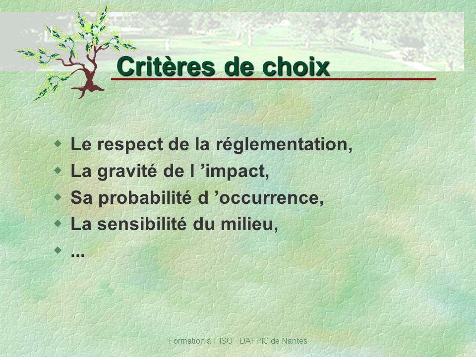Formation à l ISO - DAFPIC de Nantes wLe respect de la réglementation, wLa gravité de l impact, wSa probabilité d occurrence, wLa sensibilité du milie