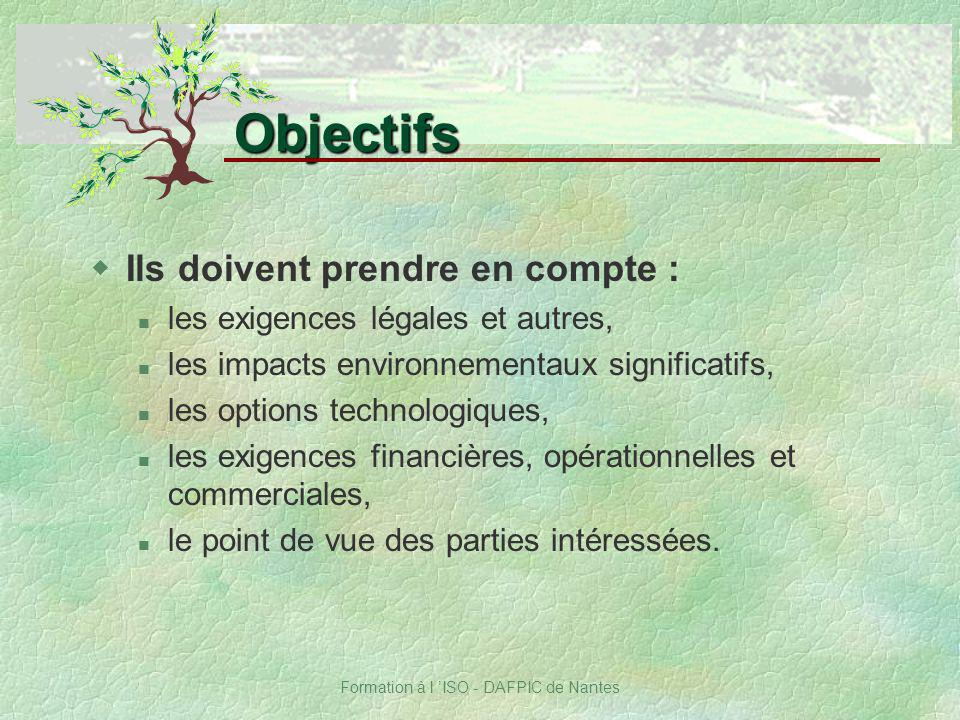 Formation à l ISO - DAFPIC de Nantes wIls doivent prendre en compte : n les exigences légales et autres, n les impacts environnementaux significatifs,