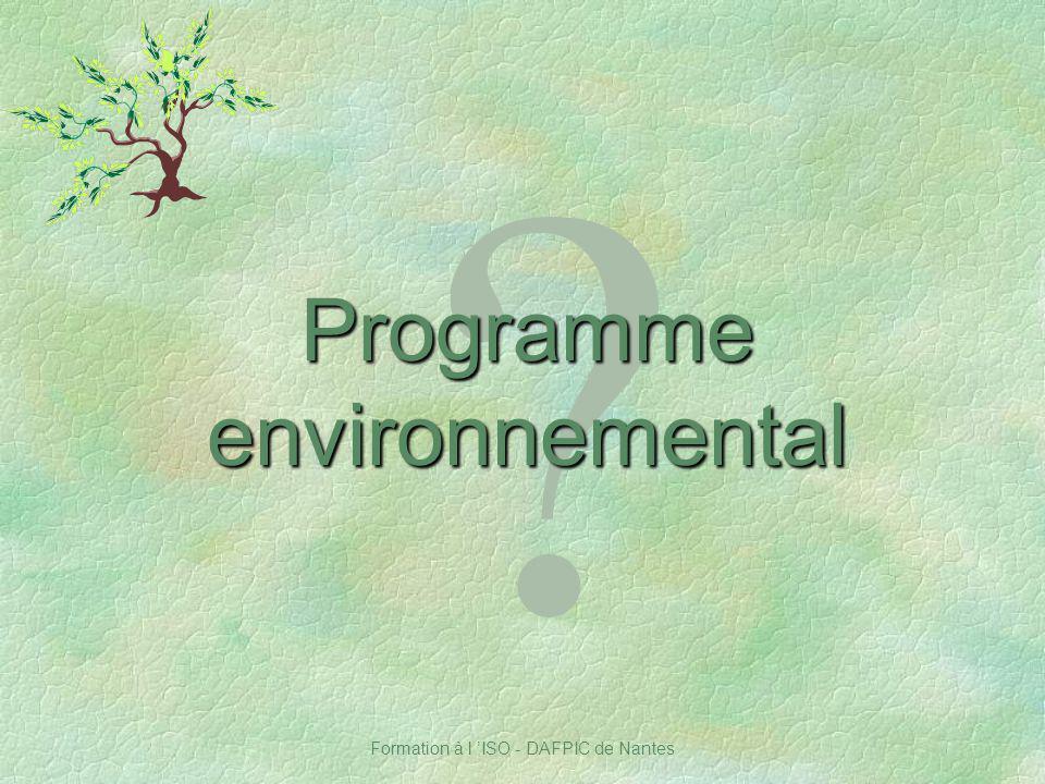 Formation à l ISO - DAFPIC de Nantes ? Programme environnemental