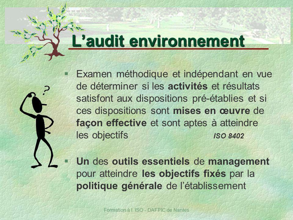 Formation à l ISO - DAFPIC de Nantes Laudit environnement §Examen méthodique et indépendant en vue de déterminer si les activités et résultats satisfo