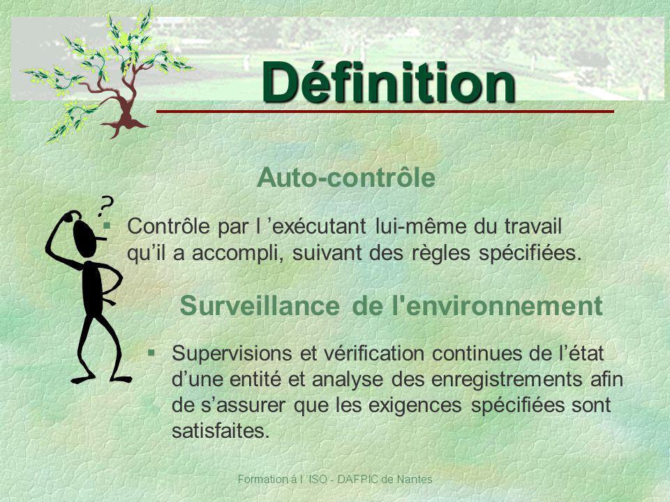 Formation à l ISO - DAFPIC de Nantes Auto-contrôle §Contrôle par l exécutant lui-même du travail quil a accompli, suivant des règles spécifiées. Défin