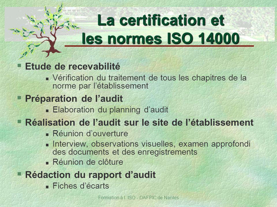Formation à l ISO - DAFPIC de Nantes § Etude de recevabilité n Vérification du traitement de tous les chapitres de la norme par létablissement § Prépa