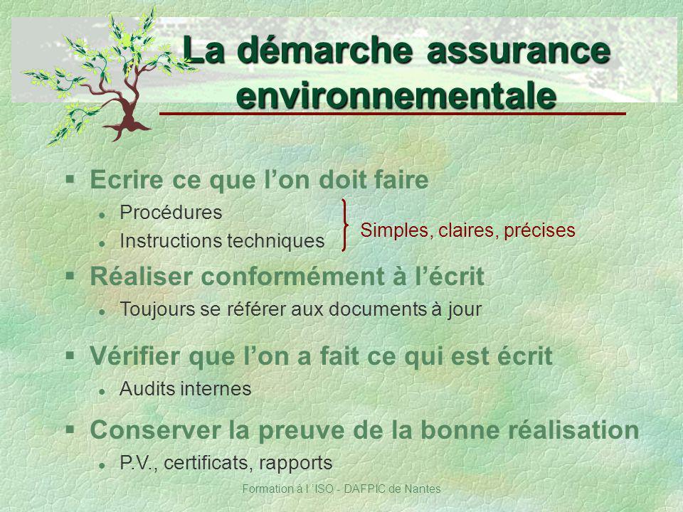 Formation à l ISO - DAFPIC de Nantes §Ecrire ce que lon doit faire Procédures Instructions techniques La démarche assurance environnementale §Réaliser