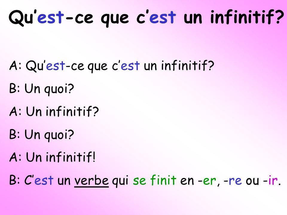 Quest-ce que cest un infinitif. A: Quest-ce que cest un infinitif.