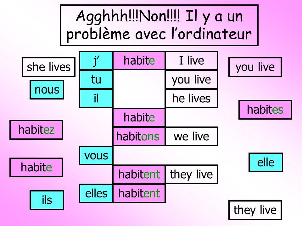jhabiteI live tu habites you live il habite he lives elle habite she lives nous habitonswe live vous habitez you live ils habitentthey live elleshabitent they live Agghhh!!!Non!!!.