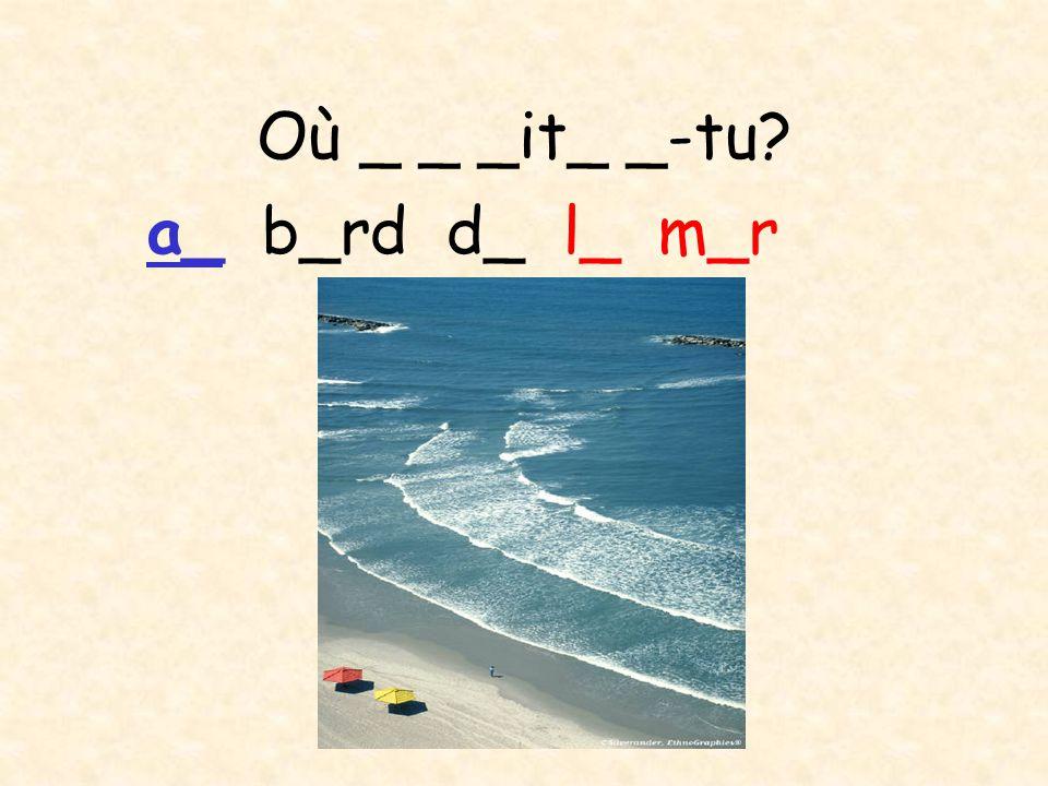 Où _ _ _it_ _-tu? en vi_ _e