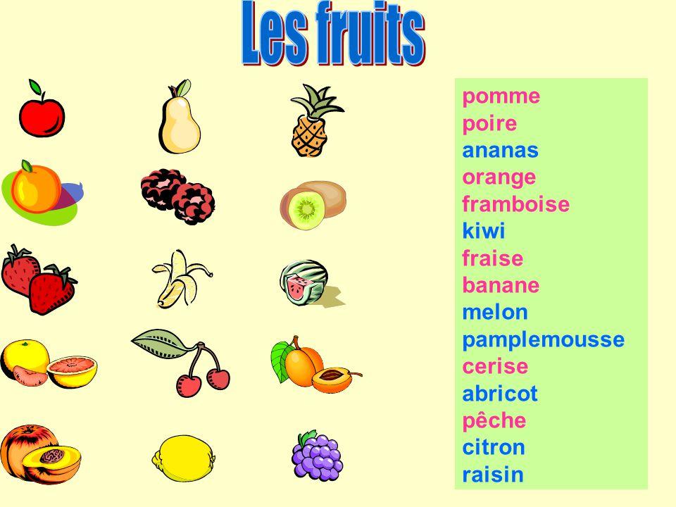 pomme poire ananas orange framboise kiwi fraise banane melon pamplemousse cerise abricot pêche citron raisin