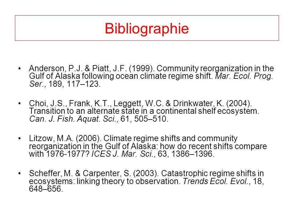 Bibliographie Anderson, P.J. & Piatt, J.F. (1999). Community reorganization in the Gulf of Alaska following ocean climate regime shift. Mar. Ecol. Pro