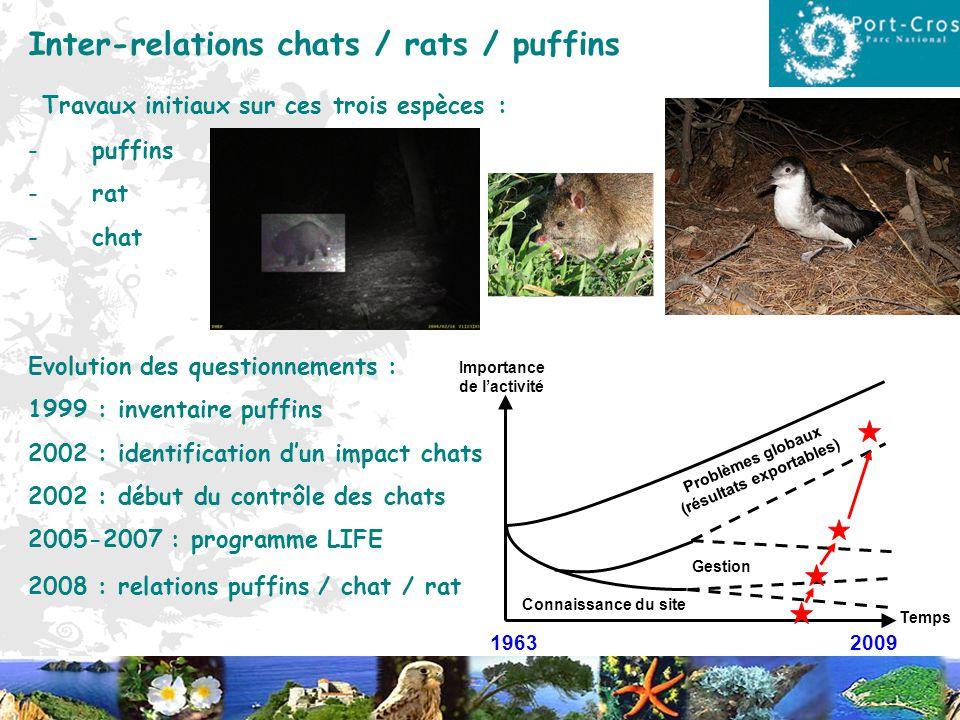 Inter-relations chats / rats / puffins Travaux initiaux sur ces trois espèces : -puffins -rat -chat Evolution des questionnements : 1999 : inventaire