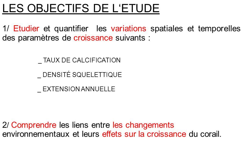LES OBJECTIFS DE LETUDE 1/ Etudier et quantifier les variations spatiales et temporelles des paramètres de croissance suivants : _ TAUX DE CALCIFICATI