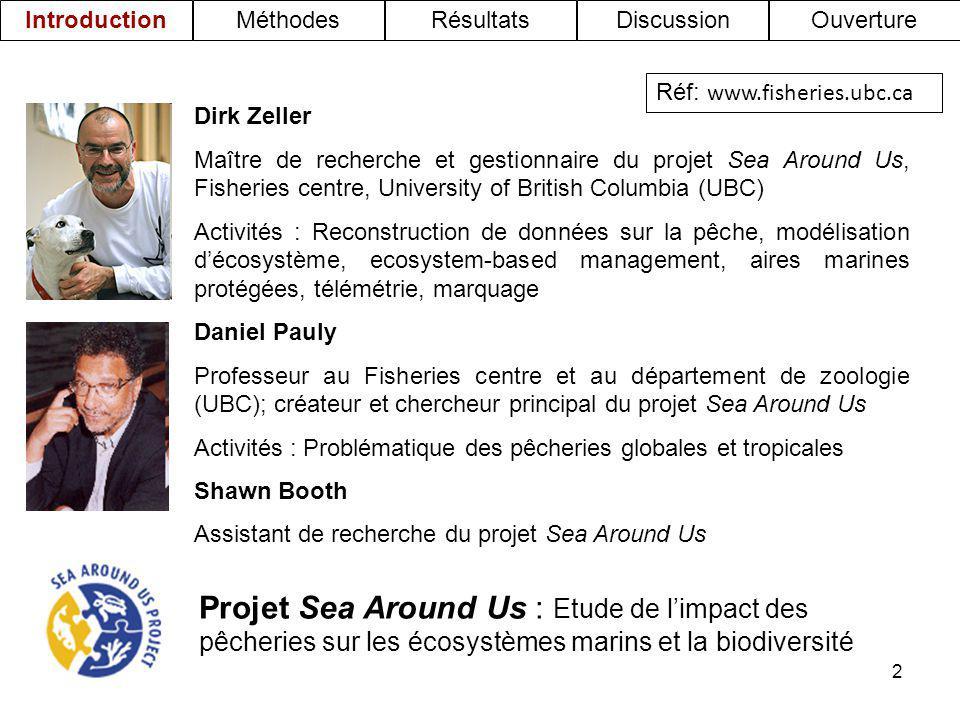 2 Dirk Zeller Maître de recherche et gestionnaire du projet Sea Around Us, Fisheries centre, University of British Columbia (UBC) Activités : Reconstr