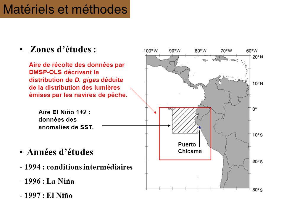 Zones détudes : Puerto Chicama Matériels et méthodes Aire de récolte des données par DMSP-OLS décrivant la distribution de D. gigas déduite de la dist