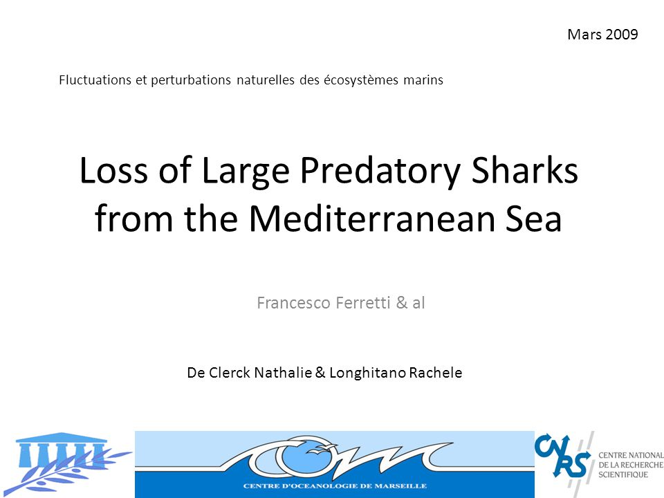 Loss of Large Predatory Sharks from the Mediterranean Sea Francesco Ferretti & al De Clerck Nathalie & Longhitano Rachele Mars 2009 Fluctuations et pe