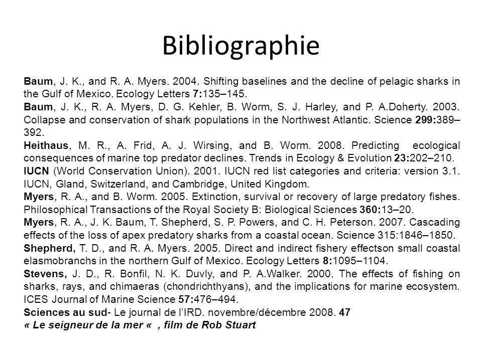 Baum, J. K., and R. A. Myers. 2004. Shifting baselines and the decline of pelagic sharks in the Gulf of Mexico. Ecology Letters 7:135–145. Baum, J. K.
