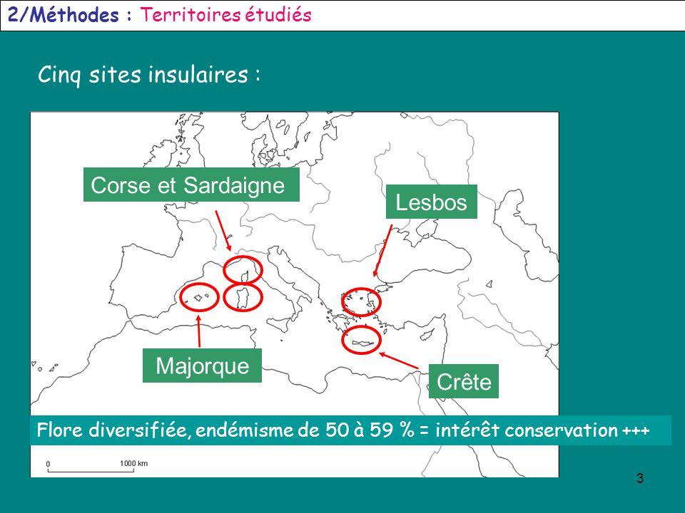 3 2/Méthodes : Territoires étudiés Cinq sites insulaires : Corse et Sardaigne Lesbos Crête Majorque Flore diversifiée, endémisme de 50 à 59 % = intérê