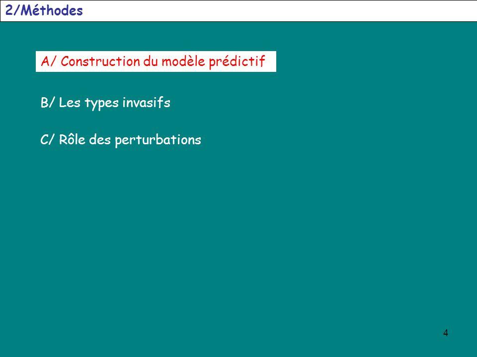 4 2/Méthodes A/ Construction du modèle prédictif C/ Rôle des perturbations B/ Les types invasifs
