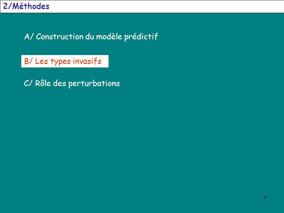7 2/Méthodes A/ Construction du modèle prédictif C/ Rôle des perturbations B/ Les types invasifs