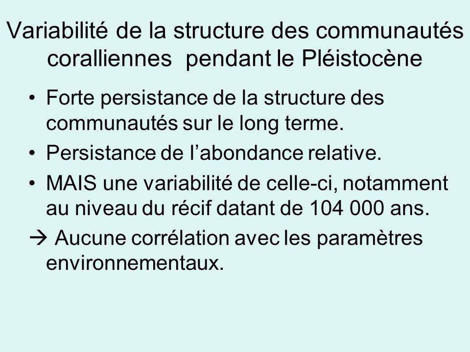 Variabilité de la structure des communautés coralliennes pendant le Pléistocène Forte persistance de la structure des communautés sur le long terme.
