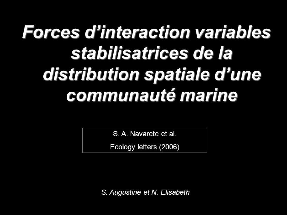 Forces dinteraction variables stabilisatrices de la distribution spatiale dune communauté marine S.