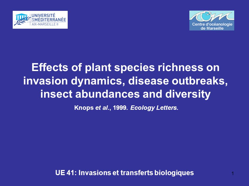 1 Effects of plant species richness on invasion dynamics, disease outbreaks, insect abundances and diversity Knops et al., 1999. Ecology Letters. UE 4