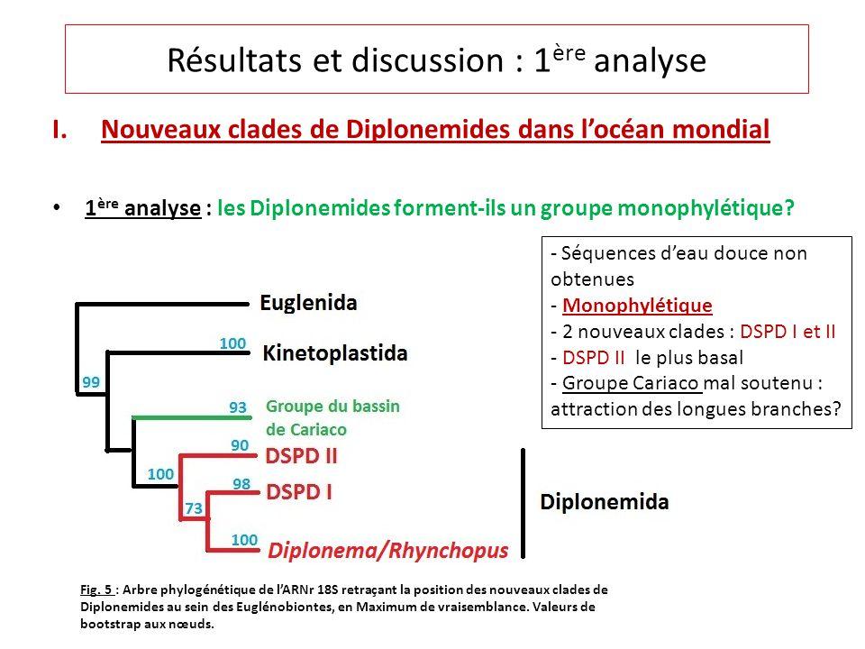 I.Nouveaux clades de Diplonemides dans locéan mondial 1 ère analyse : les Diplonemides forment-ils un groupe monophylétique? Résultats et discussion :