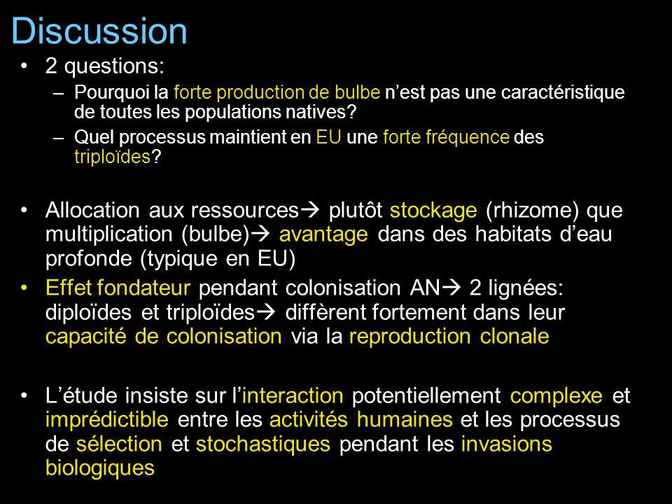 2 questions: –Pourquoi la forte production de bulbe nest pas une caractéristique de toutes les populations natives.