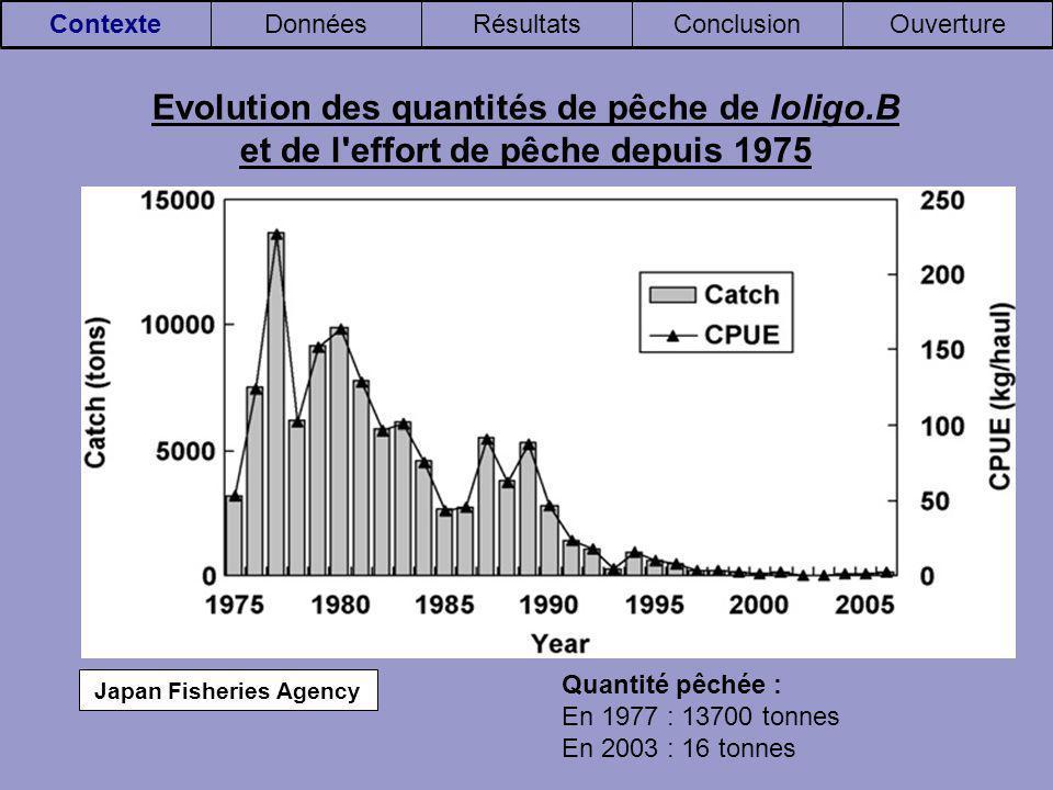 Japan Fisheries Agency OuvertureConclusionRésultatsDonnéesContexte Evolution des quantités de pêche de loligo.B et de l effort de pêche depuis 1975 Quantité pêchée : En 1977 : 13700 tonnes En 2003 : 16 tonnes