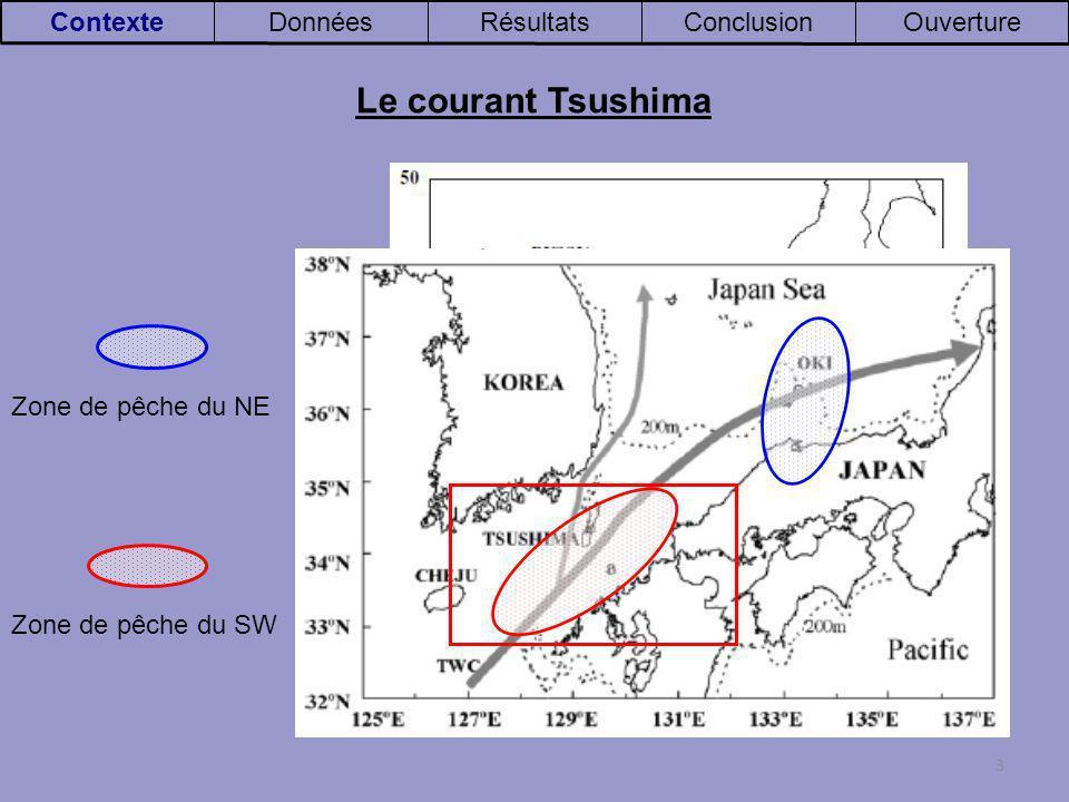 3 OuvertureConclusionRésultatsDonnéesContexte Zone de pêche du SW Zone de pêche du NE Le courant Tsushima