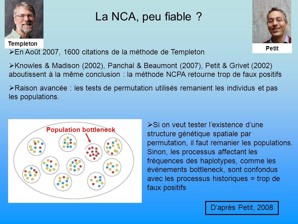 Daprès Petit, 2008 Population bottleneck La NCA, peu fiable .