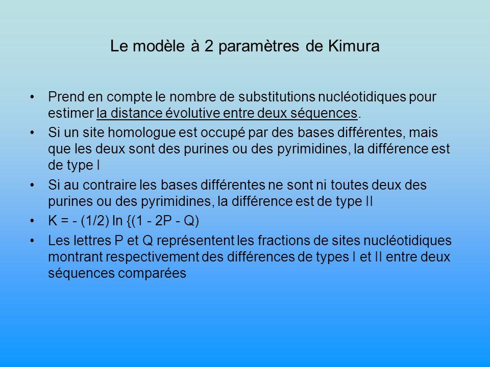 Le modèle à 2 paramètres de Kimura Prend en compte le nombre de substitutions nucléotidiques pour estimer la distance évolutive entre deux séquences.