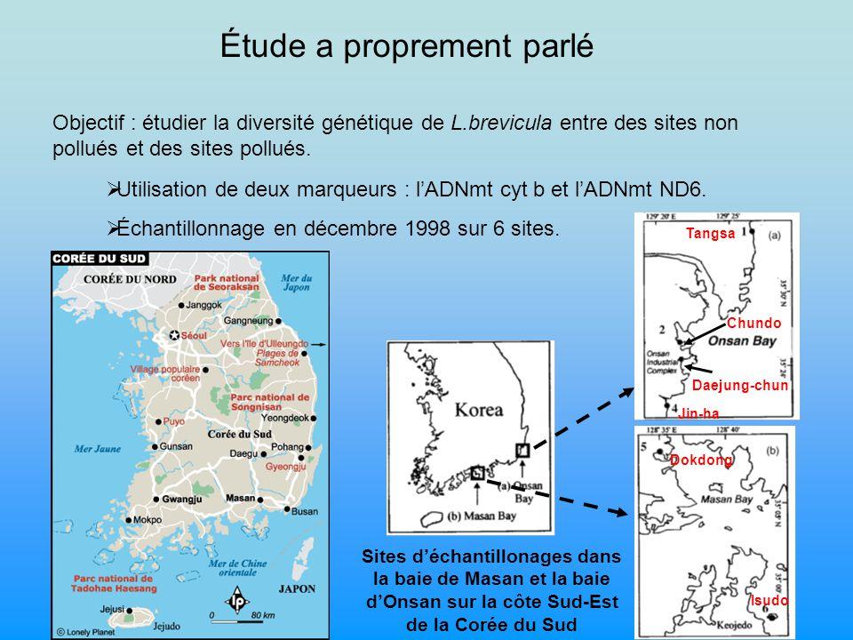 Sites non pollués Sites pollués Dokdong Isudo Tangsa Chundo Daejung-chun Jin-ha Mesure des concentrations en métaux lourds dans les différents compartiments A partir du tableau de données 1 Kim et al, 2003