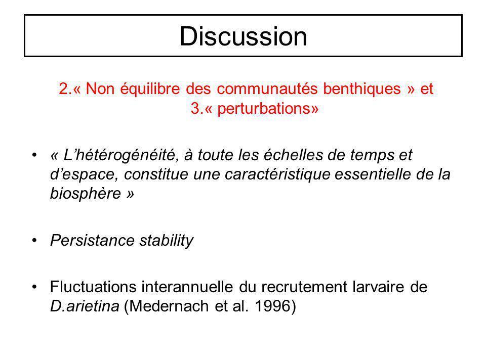 Discussion 2.« Non équilibre des communautés benthiques » et 3.« perturbations» « Lhétérogénéité, à toute les échelles de temps et despace, constitue