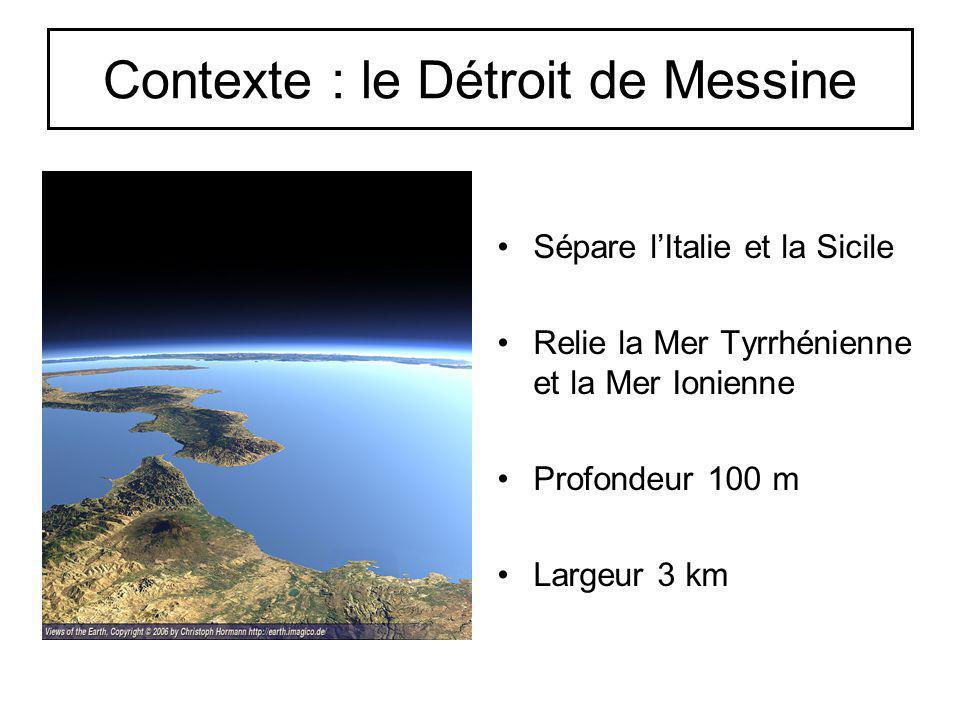 Contexte : le Détroit de Messine Sépare lItalie et la Sicile Relie la Mer Tyrrhénienne et la Mer Ionienne Profondeur 100 m Largeur 3 km