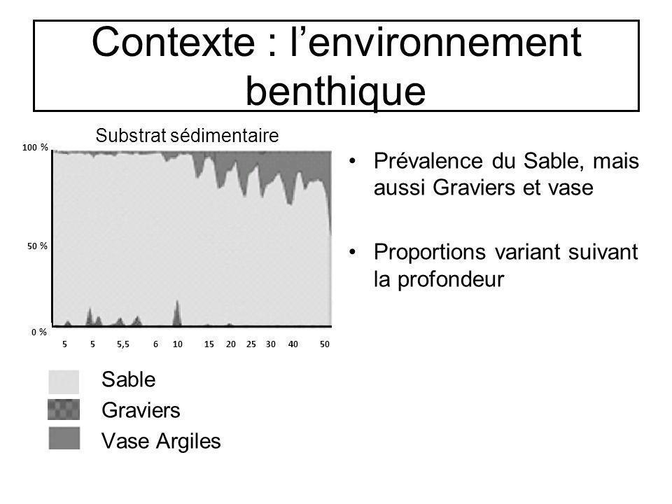 Contexte : lenvironnement benthique Prévalence du Sable, mais aussi Graviers et vase Proportions variant suivant la profondeur 100 % 50 % 0 % 5 5 5,5