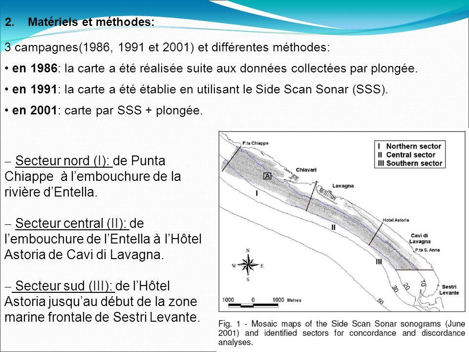 3 campagnes(1986, 1991 et 2001) et différentes méthodes: en 1986: la carte a été réalisée suite aux données collectées par plongée.