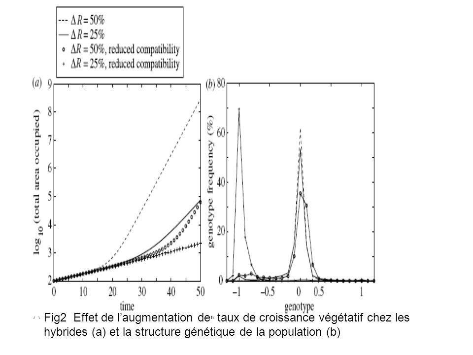 Fig2 Effet de laugmentation de taux de croissance végétatif chez les hybrides (a) et la structure génétique de la population (b)