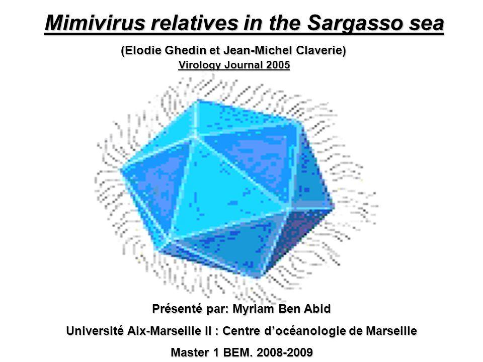 Mimivirus relatives in the Sargasso sea Présenté par: Myriam Ben Abid Université Aix-Marseille II : Centre docéanologie de Marseille Master 1 BEM. 200