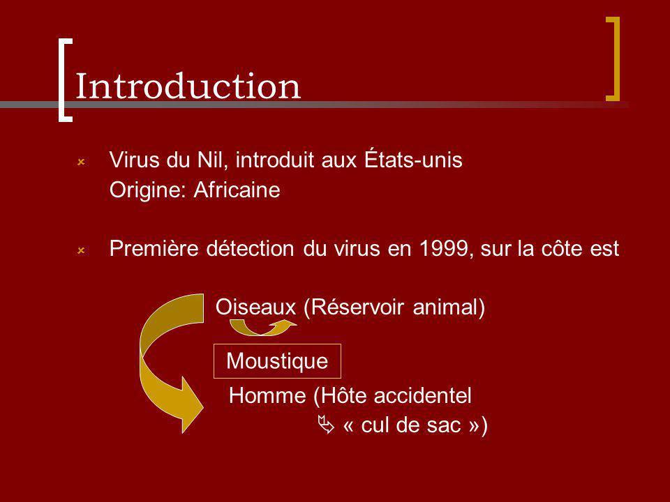 Introduction Virus du Nil, introduit aux États-unis Origine: Africaine Première détection du virus en 1999, sur la côte est Oiseaux (Réservoir animal)