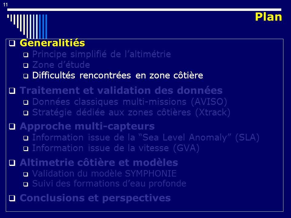 11 Generalitiés Principe simplifié de laltimétrie Zone détude Difficultés rencontrées en zone côtière Traitement et validation des données Données classiques multi-missions (AVISO) Stratégie dédiée aux zones côtières (Xtrack) Approche multi-capteurs Information issue de la Sea Level Anomaly (SLA) Information issue de la vitesse (GVA) Altimetrie côtière et modèles Validation du modèle SYMPHONIE Suivi des formations deau profonde Conclusions et perspectives Plan
