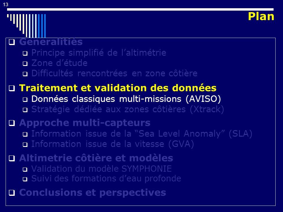 13 Generalitiés Principe simplifié de laltimétrie Zone détude Difficultés rencontrées en zone côtière Traitement et validation des données Données cla