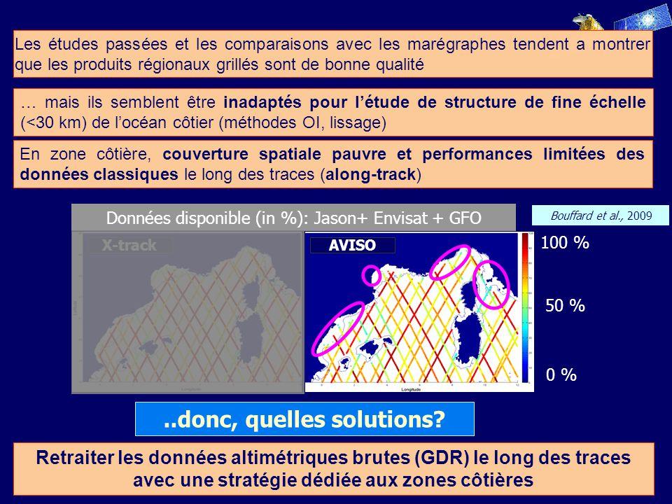 … mais ils semblent être inadaptés pour létude de structure de fine échelle (<30 km) de locéan côtier (méthodes OI, lissage) Retraiter les données altimétriques brutes (GDR) le long des traces avec une stratégie dédiée aux zones côtières..donc, quelles solutions.