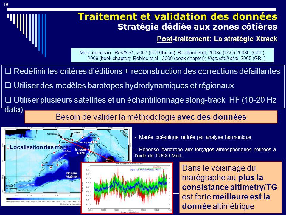 18 Traitement et validation des données Stratégie dédiée aux zones côtières Post-traitement: La stratégie Xtrack Redéfinir les critères déditions + reconstruction des corrections défaillantes Utiliser des modèles barotopes hydrodynamiques et régionaux Utiliser plusieurs satellites et un échantillonnage along-track HF (10-20 Hz data) More details in: Bouffard, 2007 (PhD thesis), Bouffard et al, 2008a (TAO),2008b (GRL), 2009 (book chapter); Roblou et al., 2009 (book chapter); Vignudelli et al.